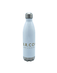 BR Cohn White Water Bottle with Gold Logo